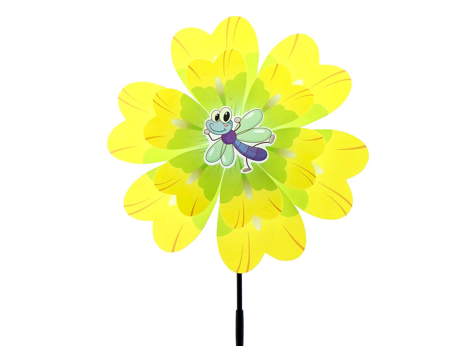 Windrad Windblume 3D Blume Windmühle Blumendeko Balkon Garten Rosa